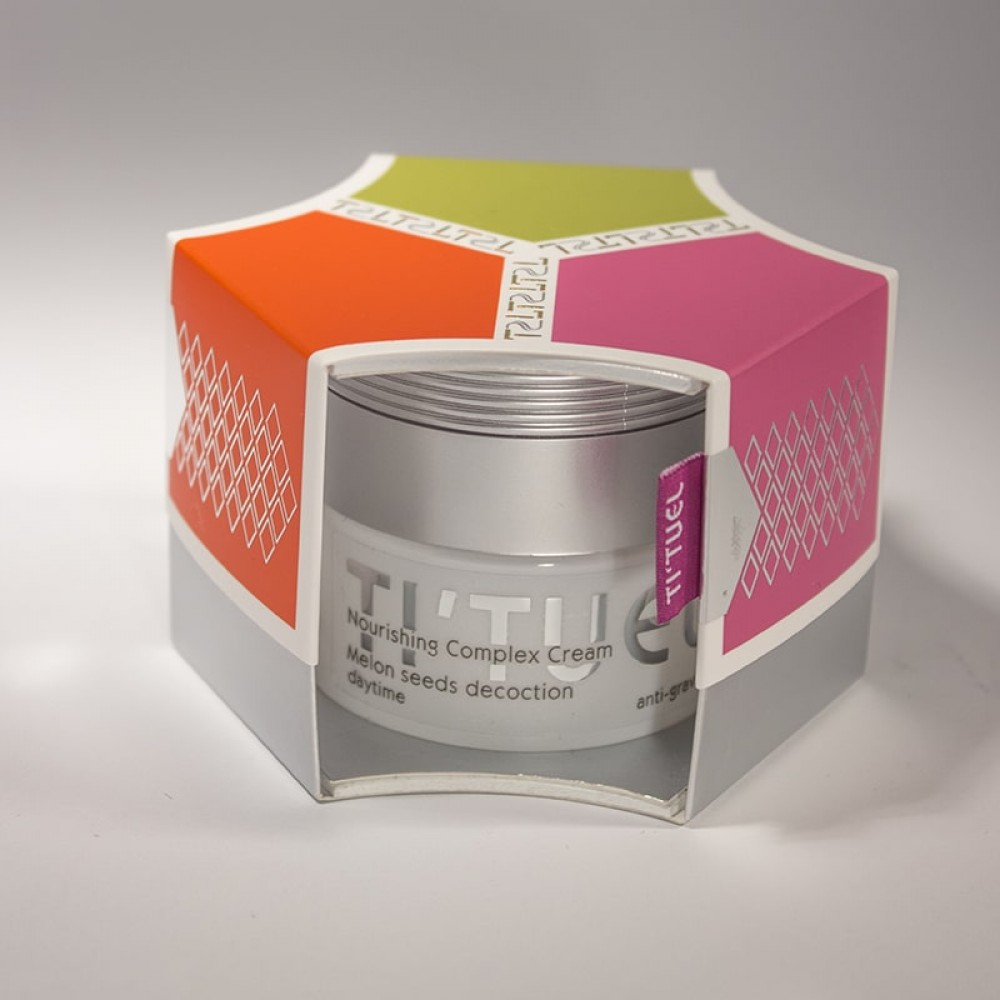 Дневной крем для кожи лица TI'TUEL Комплексное питание на основе декокта семян дыни, комплексом Aqua Shuttle, натуральными растительными маслами
